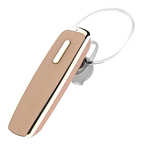 Bluetooth Headset, Fuleadture Wireless in ear Kopfhörer Einseitiger Bluetooth Headset mit Mikrofon 24 Stunden Sprechzeit HiFi Stereo Ohrhörer für Handy iPhone X 8 7 Plus Samsung S8 7 PC Gold Bluetooth-gold Headset