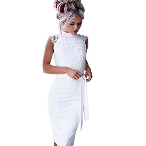 Super Beauty Lace Prinzessin dünnes Kleid HARRYSTORE Damen dünnes Sommer Lace Stitching ärmelloses Kleid Prinzessin Kleid mit Gürtel (Weiß, S) (Dress Belted Lace)