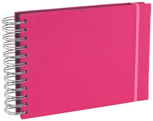 Semikolon (352981) Mini Mucho Album pink (rosa) | Spiral-Fotoalbum mit 90 Seiten und Leinen-Einband | Spiral-Foto-Buch schwarzem Fotokarton -