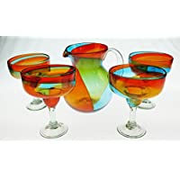 Mexican Margarita Glasses and Pitcher, Hand Blown, Rainbow colors 18