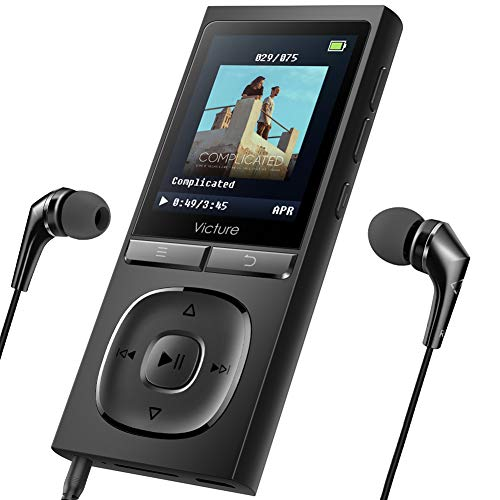 Victure MP3 Player 100 Stunden Wiedergabe Portable Verlustfreien Klang Musik Player 8GB-Speicher Erweiterbar auf bis zu 64 GB mit Kopfhörer 1.8TFT-FM Radio Voice Recorder