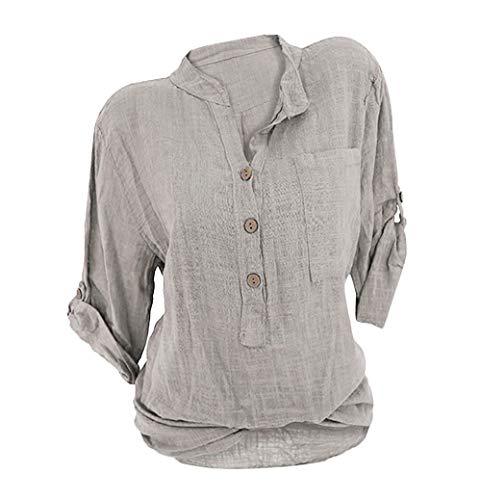 OranDesigne Damen Leinen Langarmshirt Freizeit Bluse V-Ausschnitt Button-Down Locker Hemd Shirt Beige 38