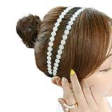 Yeptop Women Girl Korean Style Elastic Headband Double Row Imitation Pearl Floral Makeup Hairband Casual Dancing Party Vintage Headwrap