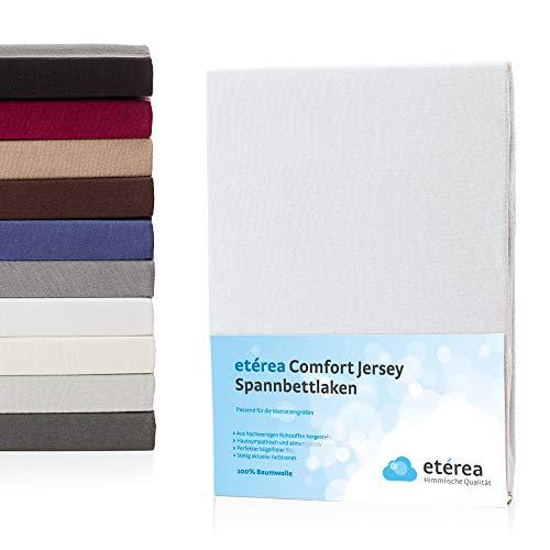 #11 Etérea Kinder Jersey Spannbettlaken, Spannbetttuch, Bettlaken, 60x120 - 70x140 cm, Weiß