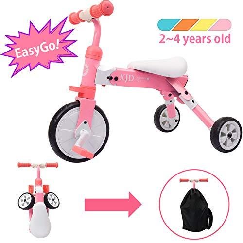 XJD Vélo Draisienne Tricycle pour Enfants de 2-4 Ans 2 en 1 Premier Vélo d'Entraînement d'Équilibre Véhicule avec Pédale Cadeau Noël pour Filles Garçons Léger Pliable avec Sac De Rangement
