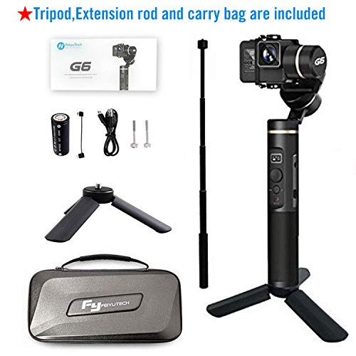 FEIYUTECH G6 gimbal for Gopro HERO 6/5/4/3 with WiFi and App control, Including Tripod and Extension rod Lcd-pole-stand