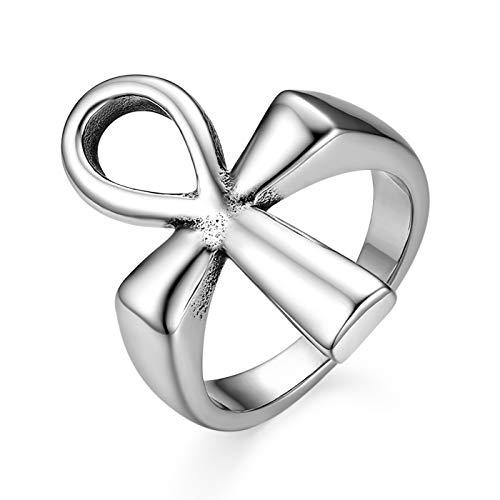 JewelryWe Schmuck Herren Damen Ring, Edelstahl Antik Ägyptisches Ankh Kreuz Schlüssel des Lebens Signet Band Ringe, Silber, Größe 62