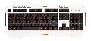 Asus Cerberus Artic Tastiera USB Gaming, Retroilluminata LED Multicolore, Bianco [Layout Italiano]