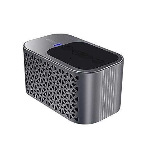 [2016 Nouveaux] Aluminum Bluetooth haut-parleur 4.0, 4400mAh Batterie pour temps de 24 heures, les pilotes double 5 Watt microphone intégré, carte Micro SD et HD son