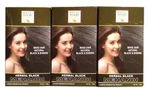 Khadi Herbal Black Henna - Pack of 3 - Premium Natural Kali Mehndi - Enriched with Amla