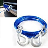 FLYCONN- - CAPACITY-4mtr, 5 TON,10mm Steel Wire auto Overwhelming Obligation Tow Rope Trailer Rope with Manufactured Snares in Both The Ends.(Blue Color)