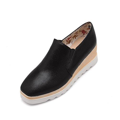 AgooLar Femme Pu Cuir à Talon Correct Carré Couleur Unie Tire Chaussures Légeres Noir