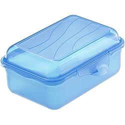 Rotho 1718906644 Funbox Contenitore Portamerenda, Senza BPA, circa 12,5 x 9 x 5,8 cm (LxBxH), Colore Blu (Blau)