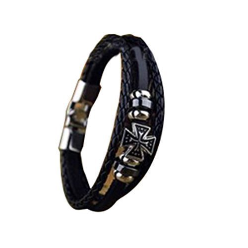 cool-metal-cross-studded-surfer-leather-bracelet-wristband-cuff-mens-brown-bk