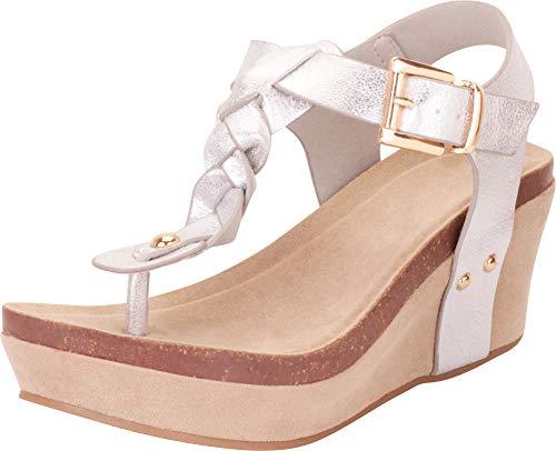 Cambridge Select Damen Thong Toe Geflochtene T-Strap Chunky Platform Mid Wedge Sandale, Silber (Silver Pu), 36.5 EU Distressed Metallic Thong Sandal