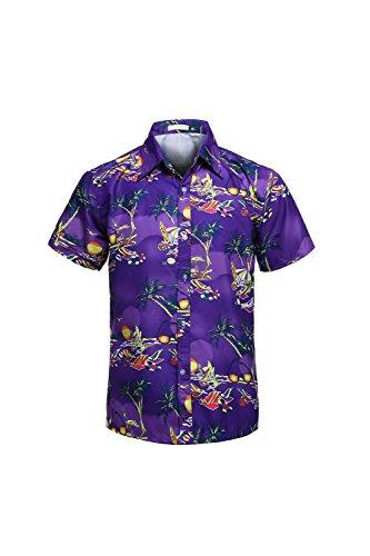 Yacun-Hombres-Camisas-Hawaianas-Cartoon-Botn-Casual-Beach-Aloha-Tops-Purples2-S