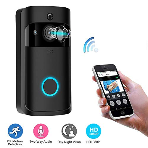 Sonew Video Doorbell,1080p HD 166 Degrees Wide Angle Wireless Anti-Theft Camera with IR&Night Vision,PIR Motion Detection, wifi-connected,2D/3D Noise Reduction,App Control for Home Security(Black)