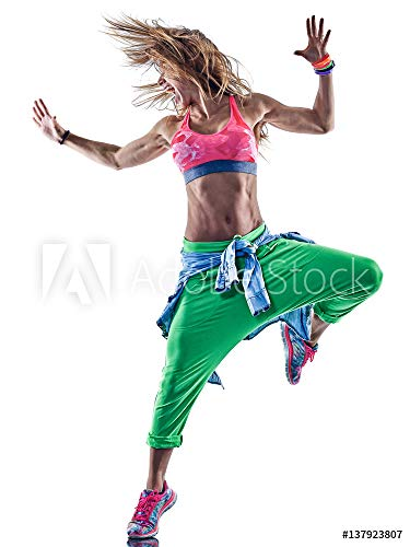 druck-shop24 Wunschmotiv: one caucasian Woman Exercising Zumba Fitness excercises Dancer Dancing in Studio Isolated on White Background #137923807 - Bild als Foto-Poster - 3:2-60 x 40 cm / 40 x 60 cm