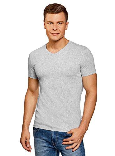 2300 T-shirt Short (oodji Ultra Herren T-Shirt Basic mit V-Ausschnitt, Grau, S)