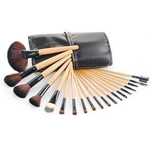 ANKKO 19pcs Holz Profi Kosmetik Make up Brush Set mit Tasche, Schwarz