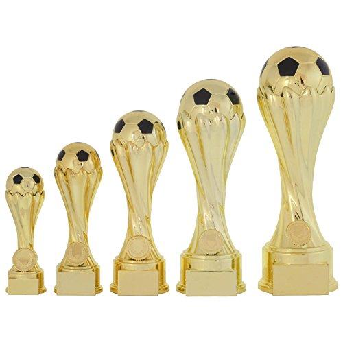 5er Pokalset 16, 19, 23,27, 31 cm Fußball Lille Pokal Trophäe Gold massiv