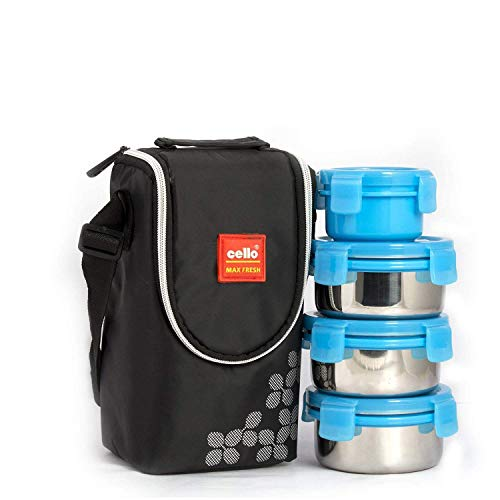 Cello Max Fresh Click Steel Lunch Box Set, 4-Pieces, Blue