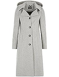 de la crème - mujer invierno lana y cachemir Damas Con Capucha Altura Media Abrigo