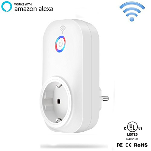WiFi Smart Steckdose, Gintenco Smart Socket Ferngesteuerte Steckdose, Smart Wireless Plug Kompatibel mit Alexa Echo/Echo Dot,Android und IOS Smartphone