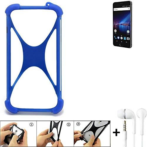 K-S-Trade Bumper für Phicomm Passion 4 Schutzhülle Handyhülle Silikon Schutz Hülle Cover Case Silikoncase Silikonbumper TPU Softcase Smartphone, Blau (1x), Headphones