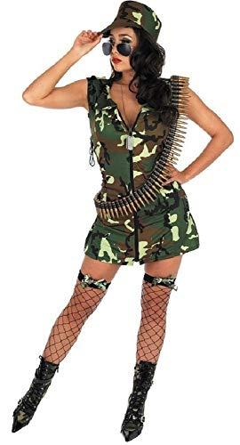 Übergröße Militär Kostüm - Fancy Me Damen Sexy Armee Mädchen Streitkräfte Militär Kostüm Kleid Outfit 8-22 Übergröße - Grün, 8-10