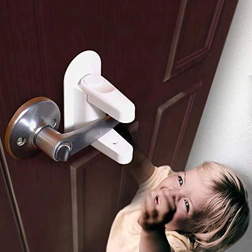 Xinxun 2 Pack Baby Sicherheitsschloss Türgriff Kindersicherung Türen und Griffe mit 3M Kleber für Kinder