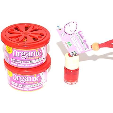 L & D 2+ 1Trio profumata in fragranza Cotton Candy–Zucchero Filato. 2x Organic Scent Profumo + 1Little Bottle duftflakon condizionatore d