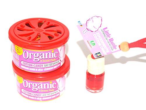 L&D 2 + 1 Duft Trio in der Duftsorte Cotton Candy - Zuckerwatte. 2 x Organic Scent Duftdose + 1 Little Bottle Duftflakon Lufterfrischer. -
