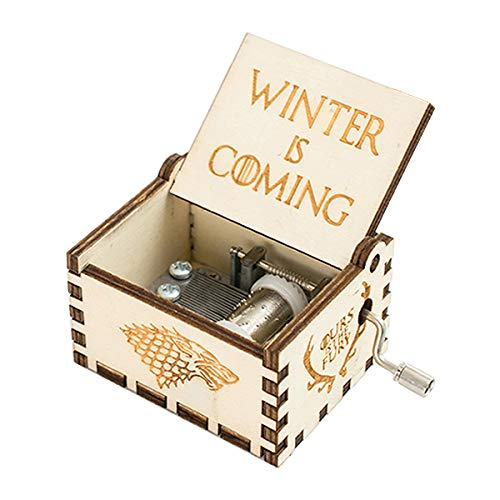 Bayram® Game of Thrones Spieluhr mit Handkurbel aus Holz DIY | Musik-Box Zum Kurbeln für Das berühmte Melodie Fanartikel – Instrument Geschenk Gadget