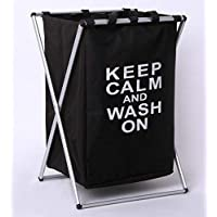 S R EXCLUSIVE Fold-able X Shape Frame one Compartment Laundry Bag/Hamper/Basket with mesh and Drawstring Closure. Metal…