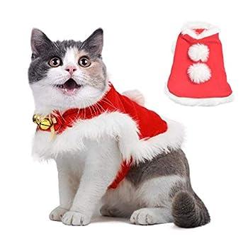 QIMMU Capes de Noël pour Animal Costume de Manteau de Noël pour Animaux de Compagnie avec Cloches en Tissu Doux et épais, Petits Chats, vêtements pour Chiens (L)