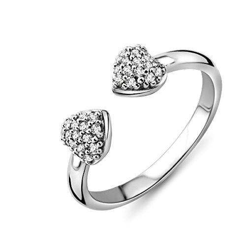 Miore–in argento sterling (925) designer pavé anello a forma di cuore con zirconi taglio brillante, argento, 56 (17.8), colore: argento, cod. msae136r6