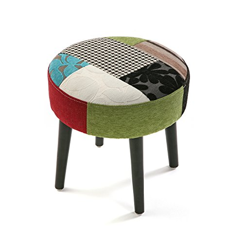 Versa 19500751 sgabello rotondo bl/gr patchwork, 35x35x35 cm, legno, multicolore