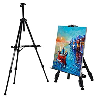 Amzdeal Easel Adjustable 52cm-162cm Easel Stand Portable Tabletop and Floor Art Easel, Picture/Poster/a2 a3 a4 Canvas Display Stand, for Indoor/Outdoor Painting, with Carry Bag, Black