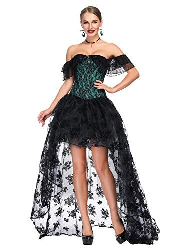 FeelinGirl Damen Korsagekleid Steampunk Gothic Kostüm Magic Mistress Hexenkostüm Teufelchen Halloween Cosplay Priatbraut (S (EU 30-32), Grün (Korsage+Rock))