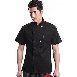 WAIWAIZUI Cocina Uniforme Camisa de Cocinero Manga Corta Negro