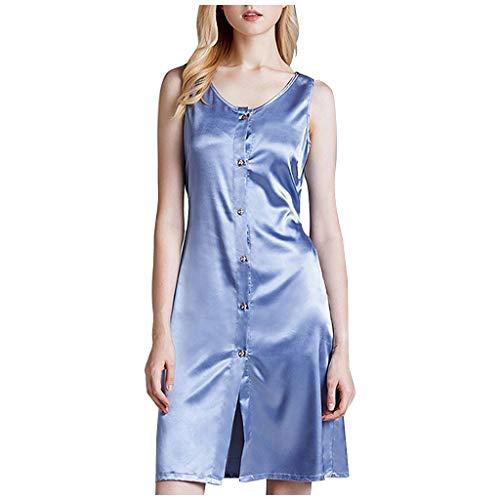 HHyyq Vêtements de Nuit Satin Femmes San Manches Boutonnées Coleure Unie Vêtements De Nuit Jupe Col Rond De La Mode Vintage Élégant Pyjamas Jupe Dames Simple Confortable Vêtements de Maison