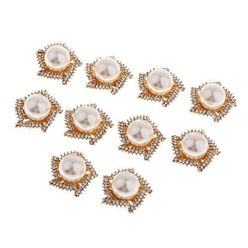 SM SunniMix 10 pcs Kristall Blume Perle Button Flatback Buttons Knöpfe Hochzeitskleid Verzierungen...