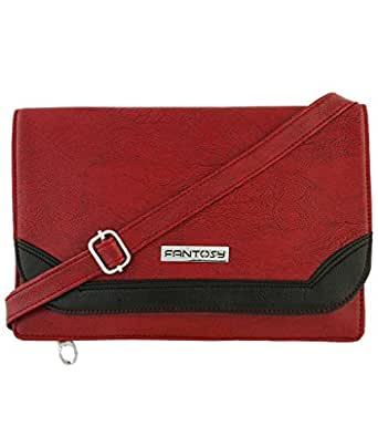 Fantosy Women Sling Bag (FNSB-058, Maroon and Black)