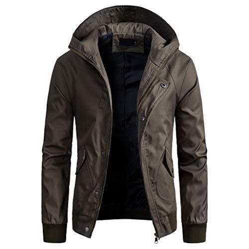 Preisvergleich Produktbild Amphia - Trenchcoat für Herren mit Kapuze - Männer Frühling Winter einfarbig Jacke Reißverschluss Button Kapuze Tasche Mantel Top Bluse