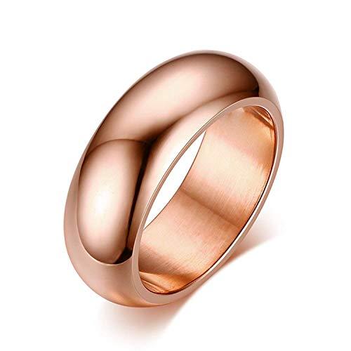 NBMCXC Edelstahlschmuck 7mm Einfache Rose Gold Glatte Dome Ring für Unisex Ringe Ice Dome