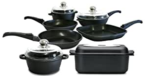 QTech Quantanium Total Range Non Stick Cookware, Set of 7, Black