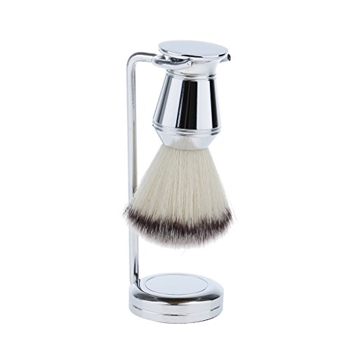 Homyl Blaireau de Nettoyage Facial de Mousse Savon à Barbe en Poils Nylon Doux et Confortable + Support Stand de Brosse à Raser Stable