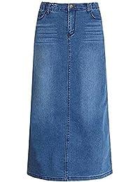 67747f5920 ECOTISH Women's Elegant High Waist Denim A-Line Skirt Slim Fit Comfy Long  Denim Skirt