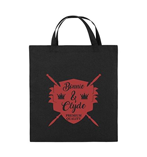 Commedie - Bonnie & Clyde Knight - Motivo - Borsa Di Juta - Manico Corto - 38x42cm - Colore: Nero / Rosa Nero / Rosso